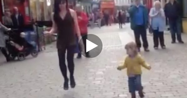 Irish Dancer Is Performing On Street. Now Watch When A 2-Year-Old Girl Walks Up To Her.. Oh My Goodness!