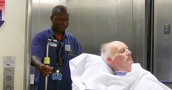 His job is to transport patients from room to another, captured camera footage of him goes viral