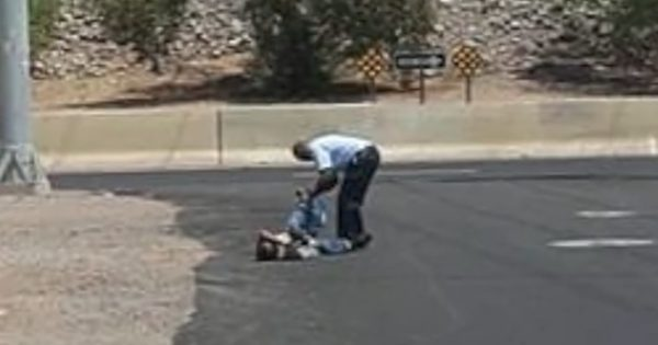 He spots a man crawling on his hands and knees and pulls right over, moments later the truth comes out…