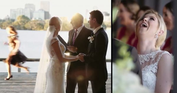 Flower Girl Goes Rogue During Wedding Vows, Bride Realizes What's Happening and Can't Stop Laughing!
