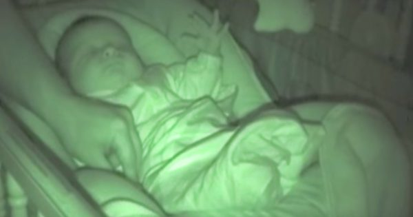 Dad cover his baby's cold hand under the blanket, then their nanny cam captured something strange