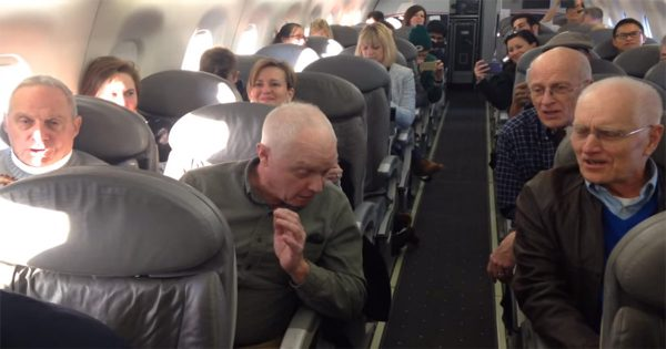 Passengers on edge because of delayed flight, until 4 old men come up with plan to lighten up the mood