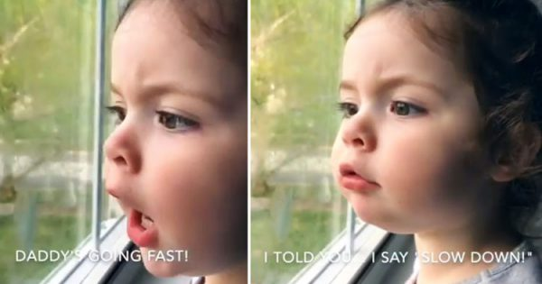 """2-year-old watches her dad driving away, gives him hilarious """"traffic tips"""" from window"""