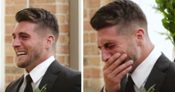 Emotional groom breaks down in tears at altar, then camera pans to his bride walking down the aisle