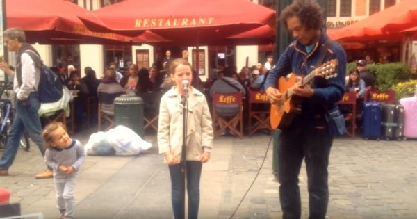 Street Performer Almost Refuses to Let Girl Sing 'Ave Maria.' When She Opens Her Mouth, Instant Chills