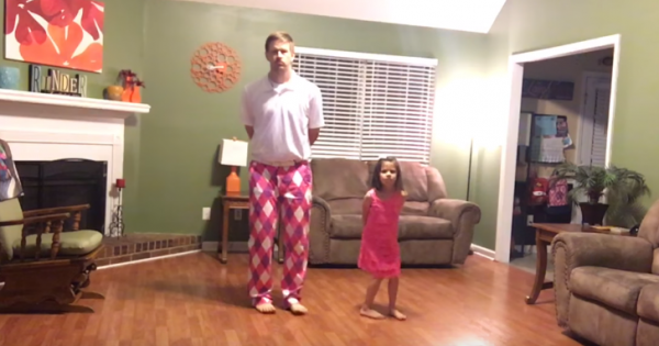 Mom's Not Home, So Dad and Daughter Turn On Camera and Record an Epic Dance Performance