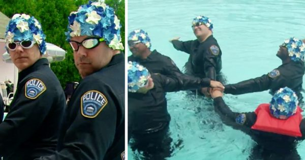 5 Cops in Floral Swim Caps Jump into Pool for Block Party. Synchronized Swim Routine Has People In Stitches