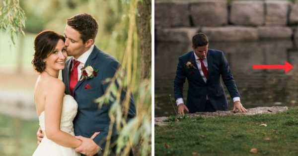 Bride Startled When She Looks over, Sees Groom in Lake. Then Finds Out What's Really Going On