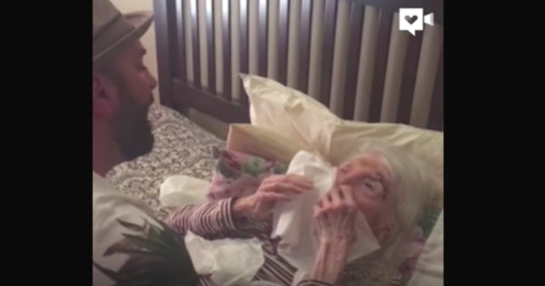 Grandson Serenades Bedridden Grandma on Her 96th Birthday, Song Choice is Moving Internet To Tears
