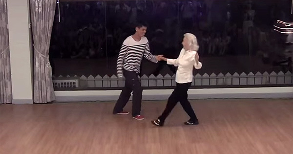 Beautiful 90-Yr-Old Dances With Younger Man on Her Birthday. In Seconds, She Completely Steals The Show