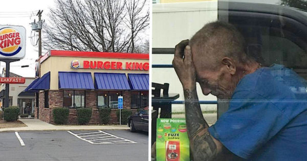 Homeless Man Sobs In Burger King But Had No Clue a Woman Put Photo on Facebook to Save Him