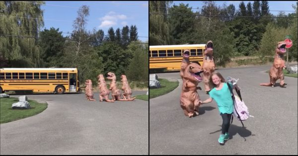 Little Girl Steps Out of The School Bus Only to Be Welcome By Her Entire Family In Giant T-Rex Costumes