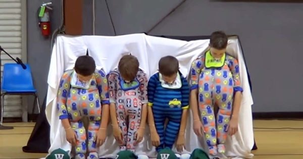Four 5th Grade Boys Come Onstage In Onesies. When They Look Up, The Whole Place Erupted into Laughter