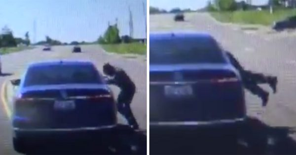 Cop Shocked When Stranger Dives through Car Window, Quickly Realizes He's Trying to Save a Life