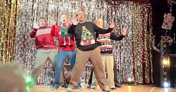 5 Dads Stand on Stage, Pull Out Christmas Dubstep Dance That Has The Entire Crowd Bursting Out Laughing