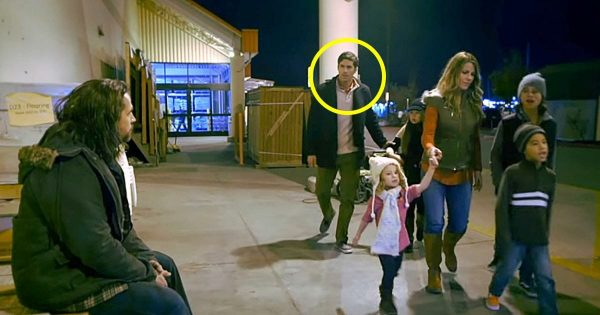 Family Walks By a Homeless Guy – Then Dad Stops and Shows His Kids What Christmas is All About