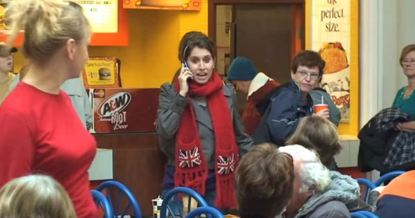 Shoppers Are Confused When She Starts Talking Loudly on Cell Phone, Seconds Later Dozens of Voices Emerge