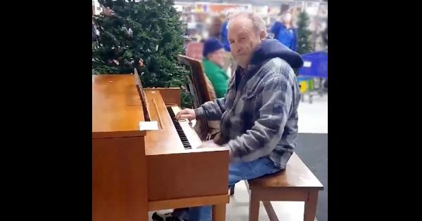 Elderly Man Finds An Old Piano At Goodwill Store, Moves Shoppers To Tears With His Impromptu Performance