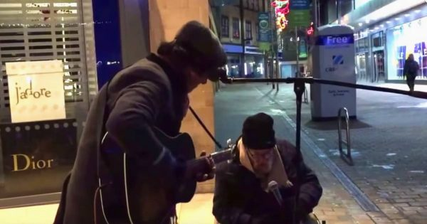 Homeless man asks to sing with street musician. When he opens his mouth, passersby freeze in their tracks
