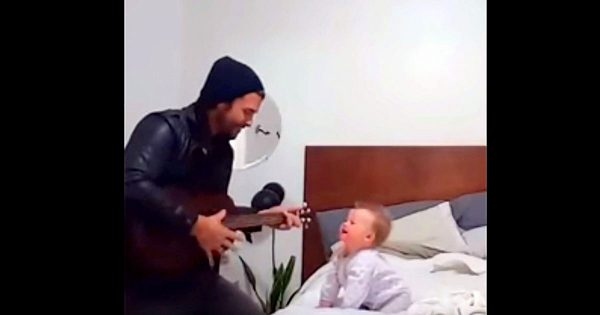 Devoted dad sweetly serenades his baby girl – But it's her comeback that's melting everyone's hearts