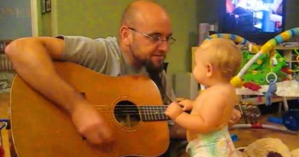 Dad begins to play Bon Jovi song – Has no clue his baby daughter will unveil her secret talent
