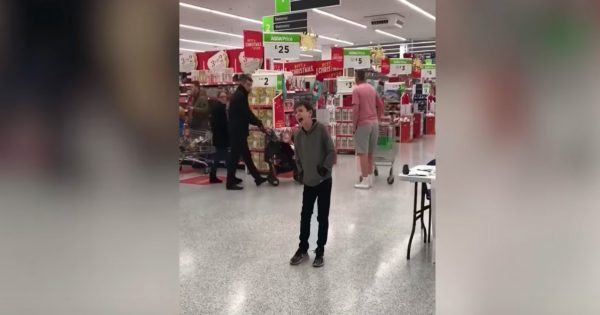 Autistic boy stands alone in the middle of grocery store. Shoppers can't believe it upon hearing his unexpected voice