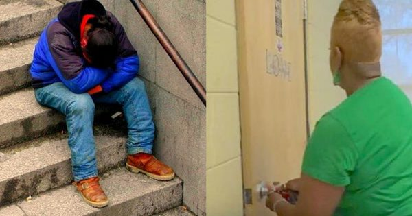 Homeless student is starving and has nowhere to go, then janitor asks him to open her 'other' closet