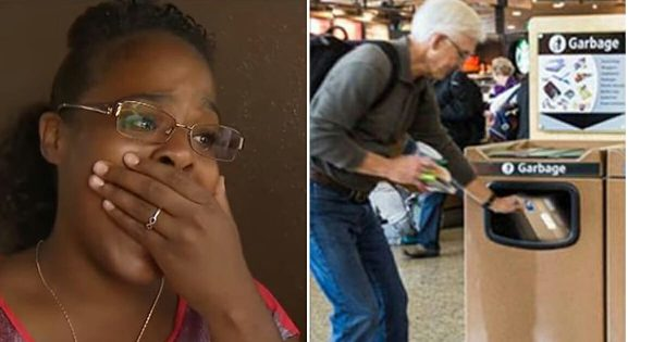 She watches as officer tells crying man to throw gift in airport trash – What she pulls out, leaves her in tears