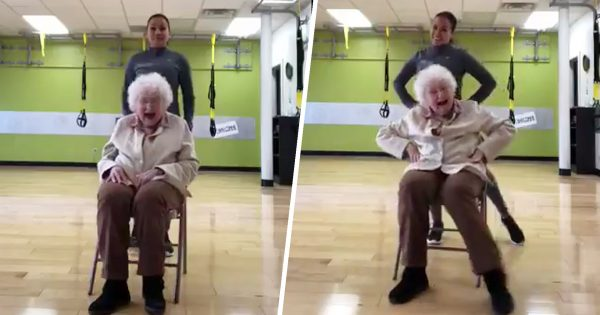 Cheerful 93-Yr-Old Can't Stop Giggling While Working Out. Her Exercise Routine Will Brighten Your Day