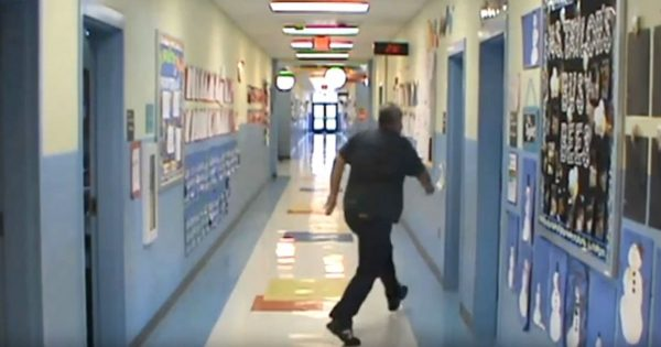 School's Closed Over Snow, Then Camera Catches Principal's Hilarious Behavior While Everyone's Gone