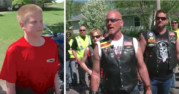 Dozens of tough bikers storm neighborhood looking for bullied teen until he steps outside and sees them
