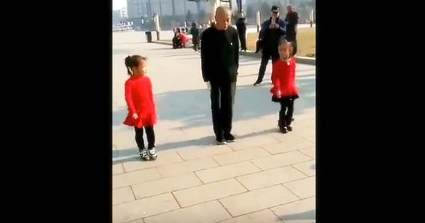 Grandpa lines up with 2 little girls – Their unique dance stop people dead in their tracks