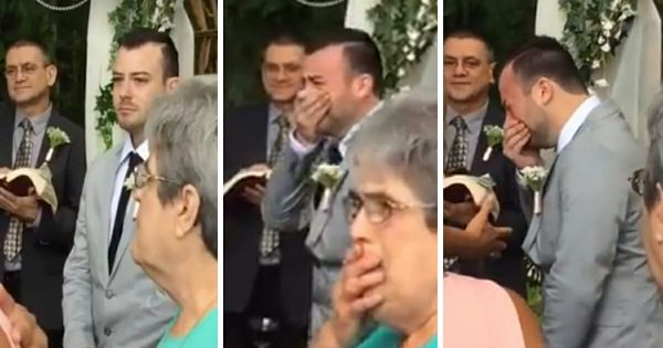 Anxious groom waits for his bride to walk down the aisle – moment he sees her, he breaks down
