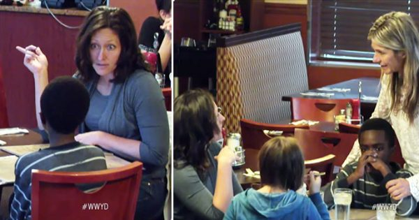 Mom and daughter enjoy their meal while foster son starves—then a disgusted stranger approaches