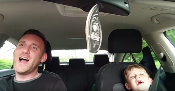 Frank Sinatra's classic starts playing on the radio. Dad-son adorable duet is melting the nation's hearts
