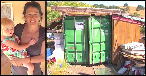 Single mom opts to live with daughter in old shipping container. But what's inside will leave you surprised
