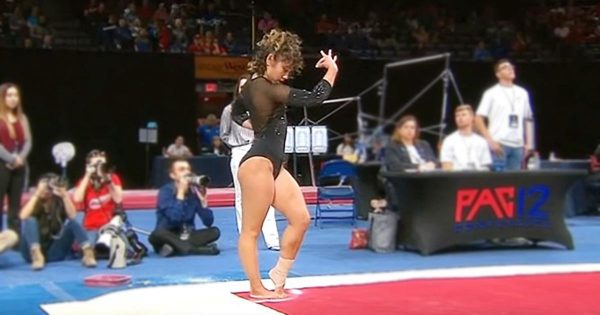 "Gymnast gets ready for ""Michael Jackson"" routine. What she does after makes the entire audience lose it"