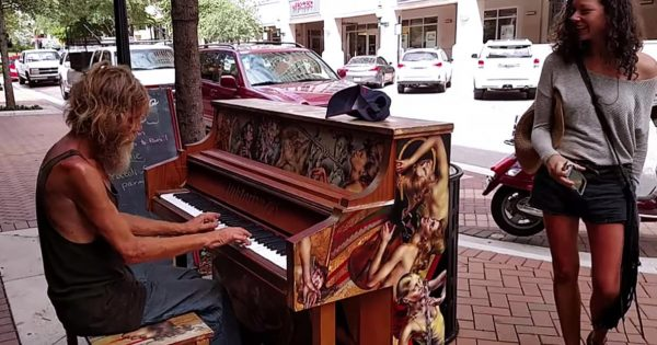 Dirty old homeless man begins playing on street piano—footage of him goes viral and changes his life forever