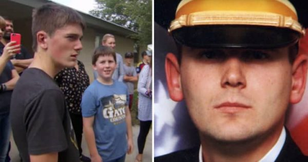 Boy's dad dies in line of duty: 15-years-later, stranger at door asks him and mom to come outside
