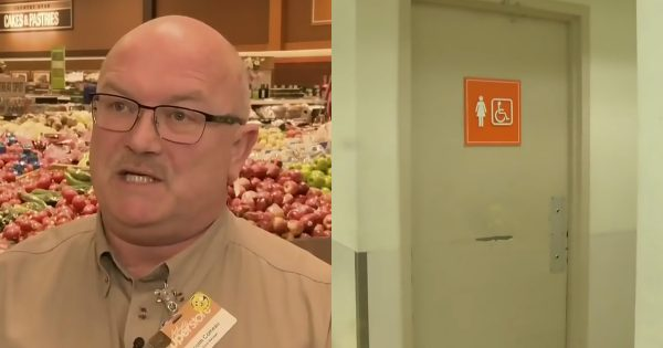 Store manager hears screams from the bathroom – throws open the door and realizes need for urgency