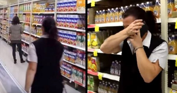 Grocery store worker notices customer's face is familiar. After closer look, she instantly bursts into tears