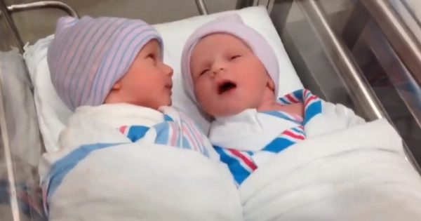 Mom begins filming her newborn twins at hospital, witnesses this and almost drops her camera