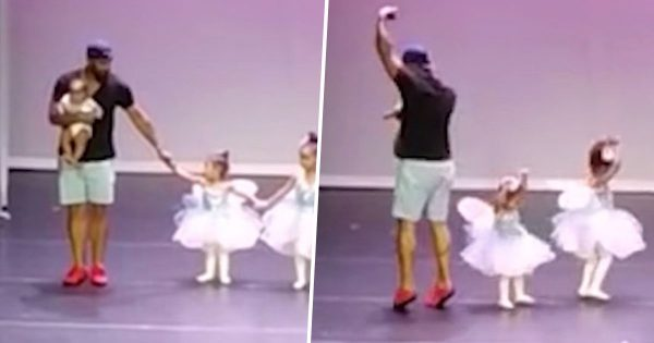 Nervous little ballerina gets stage fright, Dad instantly jumps in to help her finish in style