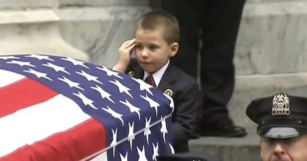 Moments into hero cop's funeral, 4-yr-old's last gesture to fallen dad leaves bystanders in tears
