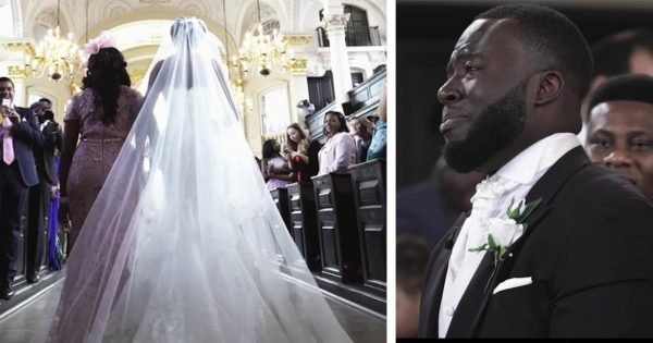 Groom waits patiently for bride to walk down aisle – takes one look at her then loses control