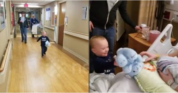 Boy with Down syndrome meets newborn brother for 1st time. But priceless reaction has grandma running for the camera