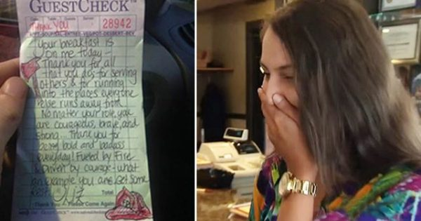 Waitress pays for 2 firemen's coffee—days later she's speechless when they come back with unexpected gift