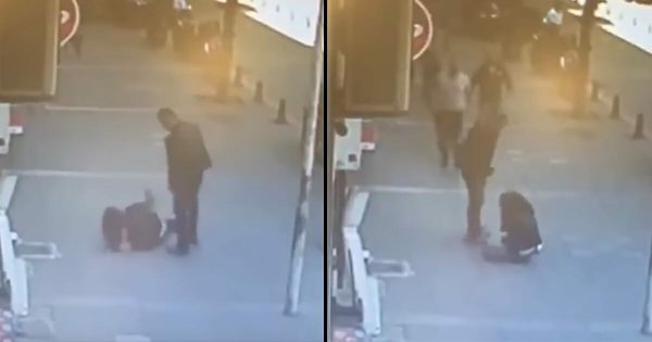 Man repeatedly beats ex-wife in street. Seconds later, karma strikes back with full force