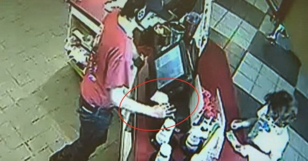 fast food worker breaks protocol for young boy. Few minutes later, he's given note that changes everything