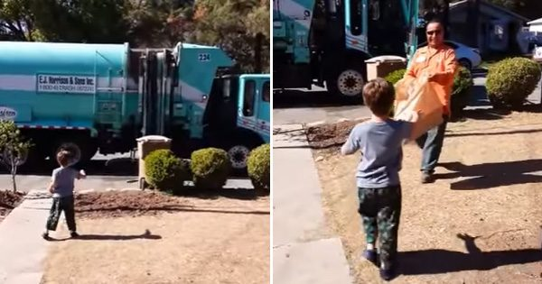 Boy with autism loves seeing garbage man—but one day he jumps out of truck and gives him unexpected gift